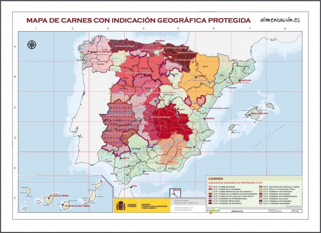 スペイン肉原産地呼称マップ