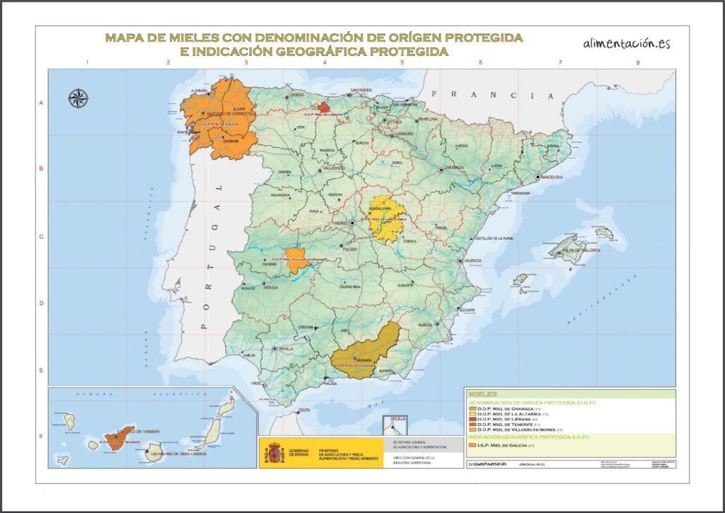 スペインはちみつ原産地呼称マップ