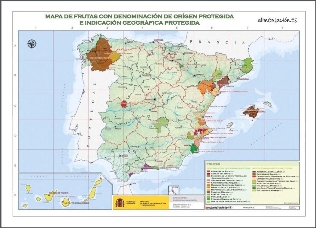 スペイン果物原産地呼称マップ