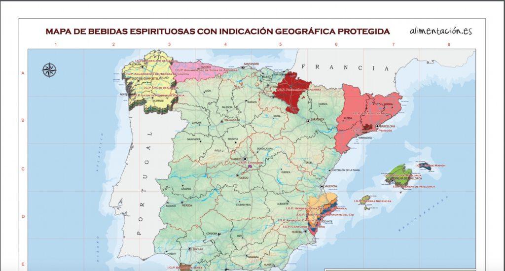 スペイン蒸留酒原産地呼称マップ