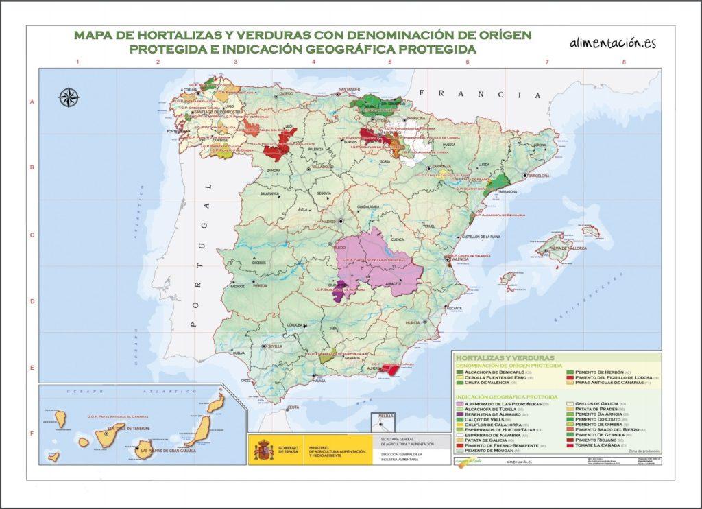 スペイン野菜原産地呼称マップ