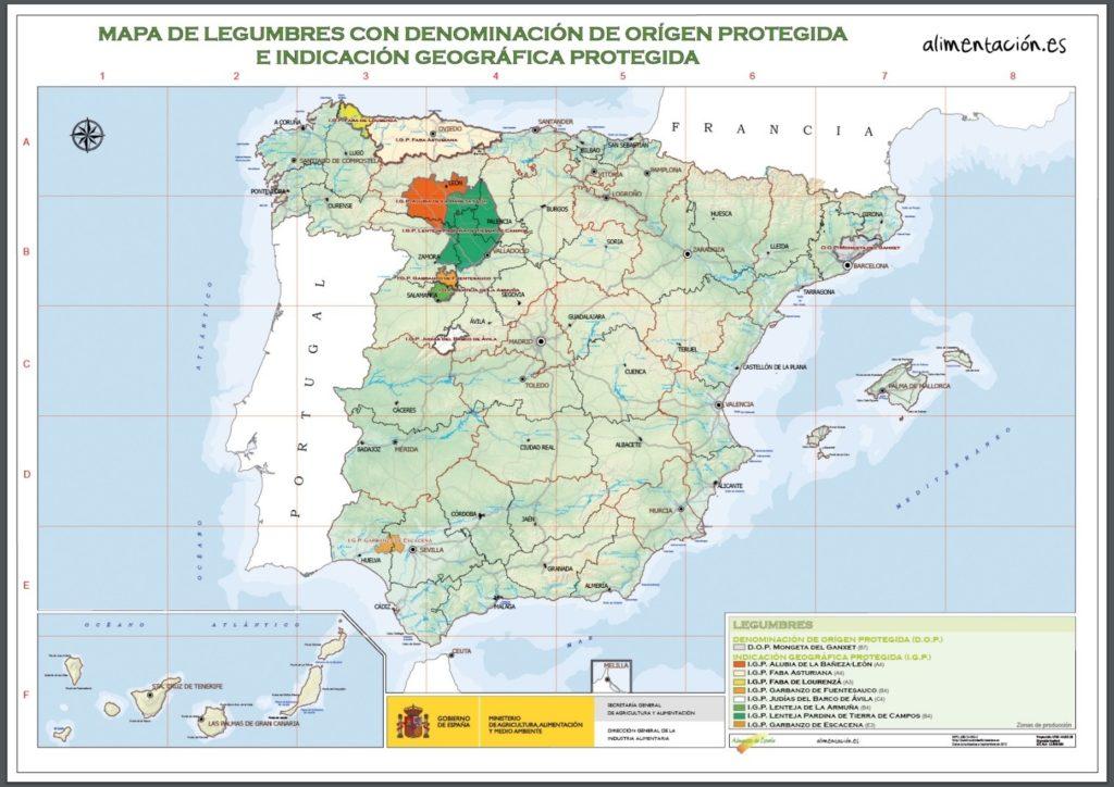 スペイン 豆の原産地呼称マップ
