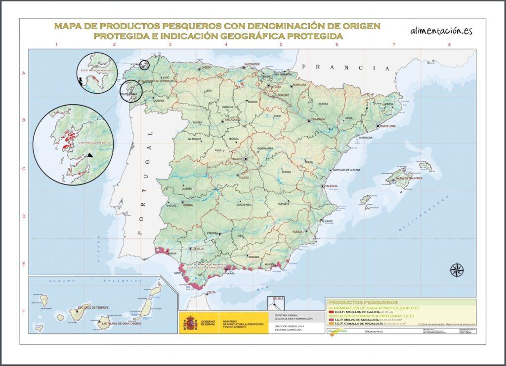 スペイン 魚介原産地呼称マップ