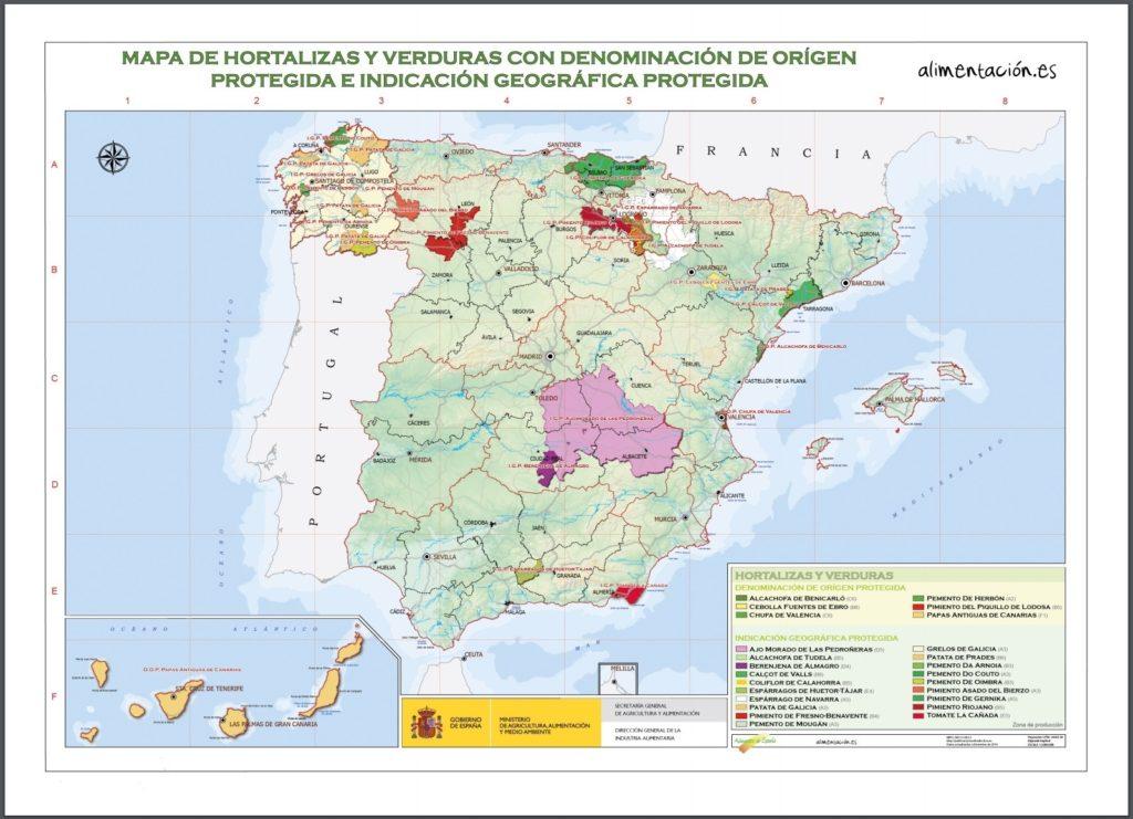 スペインの野菜 原産地呼称マップ