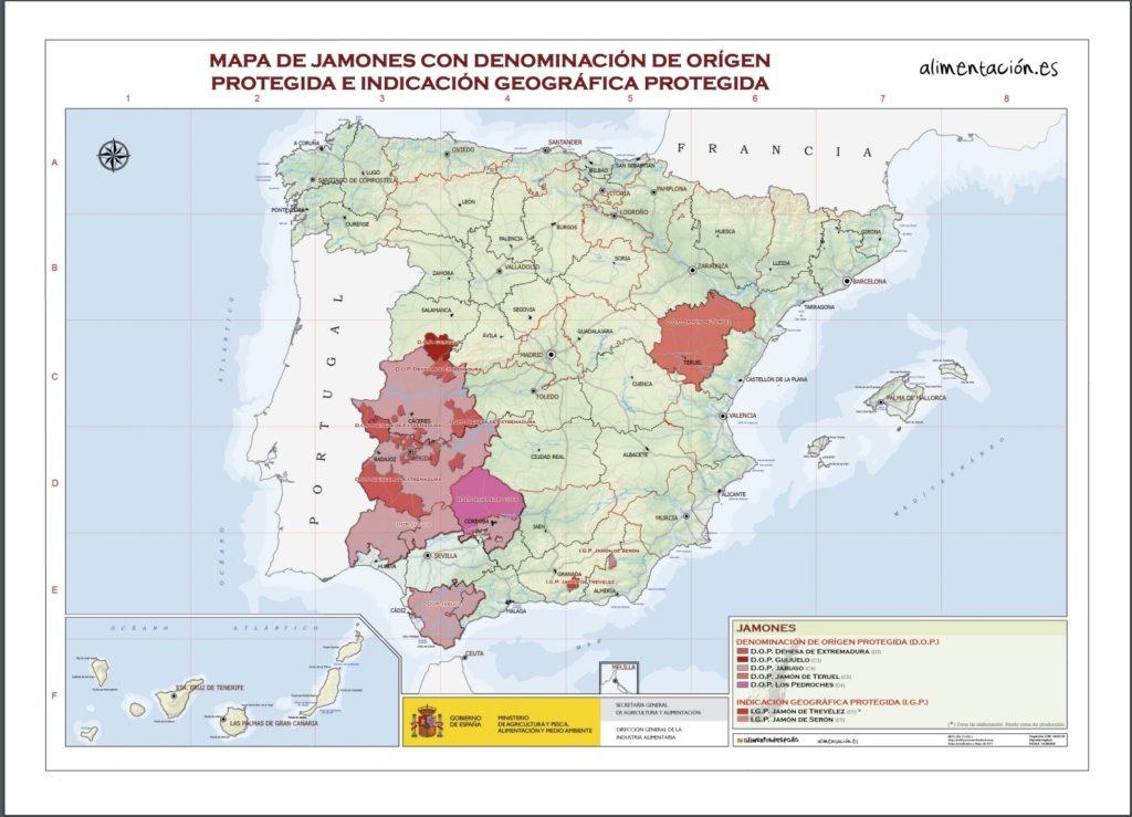 スペイン 生ハム 原産地呼称マップ
