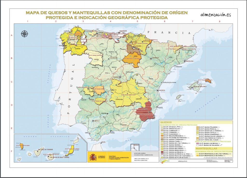 スペインチーズ・バター原産地呼称マップ