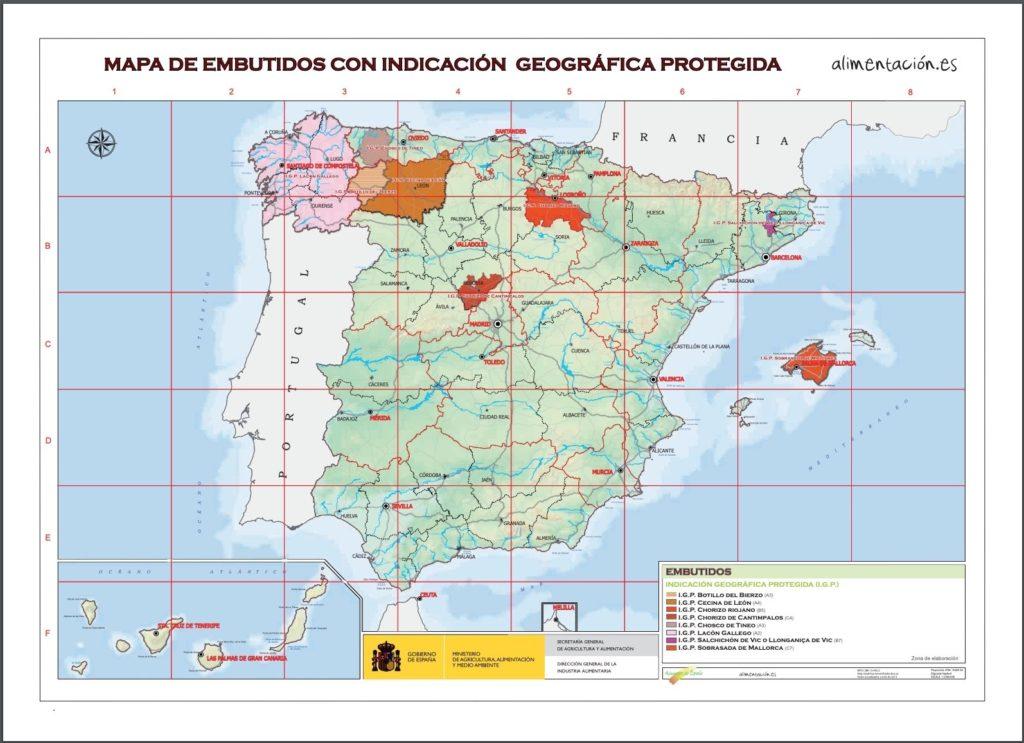 スペイン 腸詰原産地呼称マップ