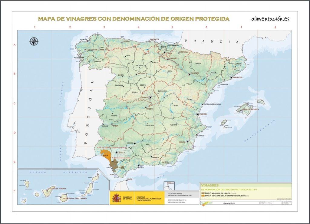スペイン ビネガー 原産地呼称マップ